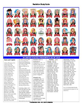 Recitations - History, Presidents, States, Preamble, Culture, Enrichment, Pi