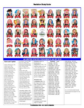 Recitations - History, Presidents, States, Preamble, Cultu