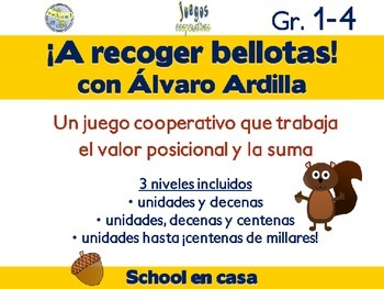 Spanish Place Value & Addition Cooperative Game: Recogiendo bellotas {3 Levels}
