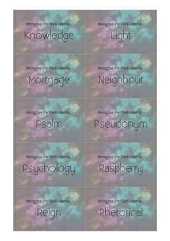 Recognise the Silent Letter(s) Flash Cards