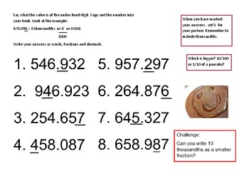 Recognising hundredths and thousandths - Pancake Day theme.