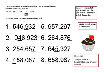 Recognising thousandths and hundredths - cake theme.