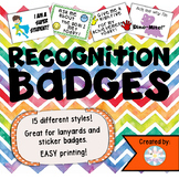 Recognition Badges for Labels or Lanyard