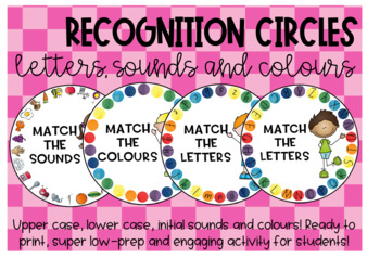 Recognition circles - letters, sounds and colours!