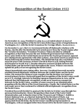 Recognition of the Soviet Union 1933 Article with Summary Assignment