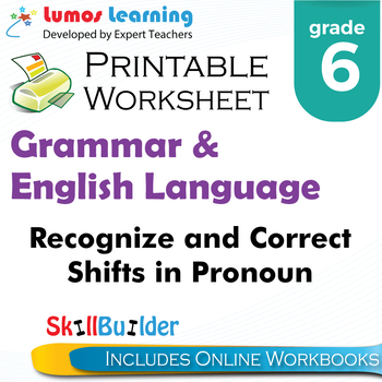 Recognize & Correct Shifts in Pronoun Number&Person Printable Worksheet, Grade 6