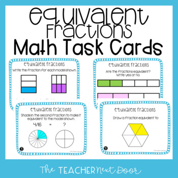 Recognize Equivalent Fractions Task Cards for 3rd Grade