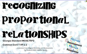 Recognize Proportional Relationships