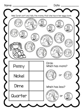 Recognize & Tally Coin Printable *Freebie!*