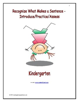 Recognize What Makes a Sentence - Introduce/Practice/Assess: Kindergarten