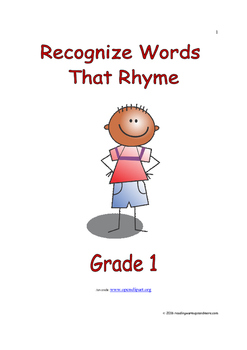 Recognize Words That Rhyme: Introduce/Practice/Assess