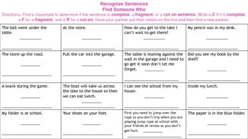 Recognize and Describe the Sentence: Complete, Run on, or Fragment