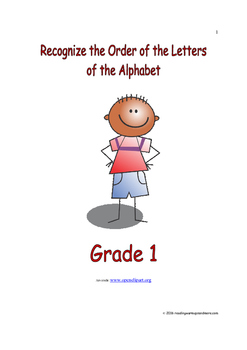 Recognize the Order of the Letters of the Alphabet: Introduce/Practice/Assess