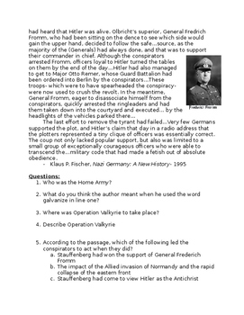 Recognizing Cause and Effect: Valkyrie: The Plot to Assassinate Hitler- wksht