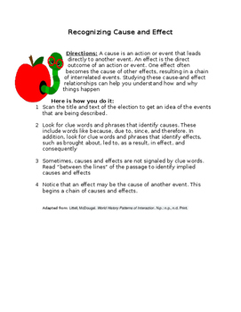 Recognizing Cause and Effect- handout