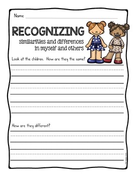 Recognizing Diversity Writing Prompts and Worksheets
