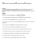 Recognizing Independent and Dependent Variables Worksheet