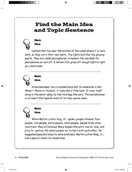 Recognizing Main Ideas and Topic Sentences