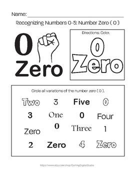 Recognizing Numbers: 0-5 Worksheet Bundle by Kaleigh Andrews | TpT