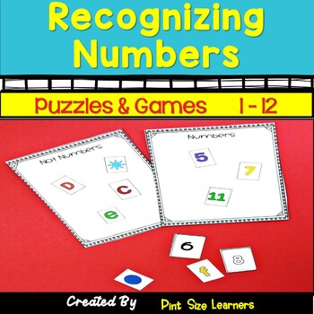 Recognizing Numbers Centers and Worksheets