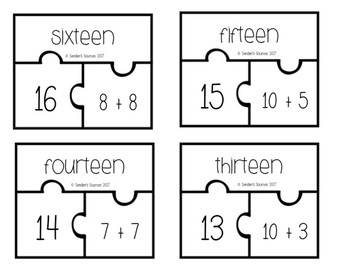 Recognizing Numbers and Simple Addition Facts Puzzle Pieces