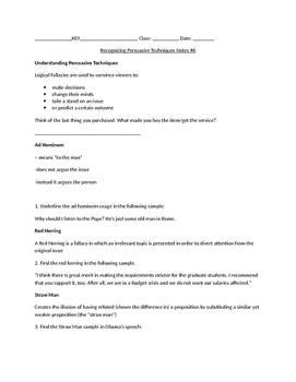 Recognizing Persuasive Technique Notes