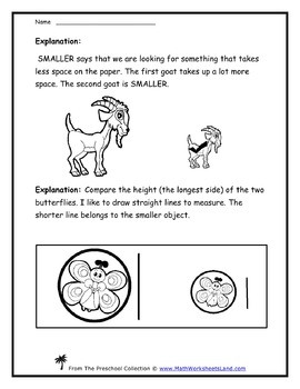 Recognizing Size (Bigger, Smaller, Same Size) Teacher Worksheet Pack