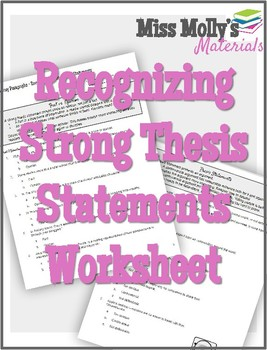Recognizing Strong Thesis Statements - No Red Ink Aligned Practice