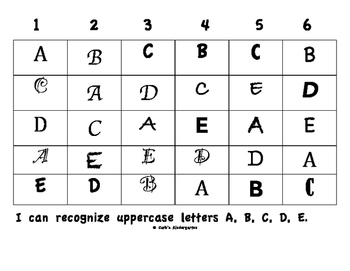 Recognizing Uppercase Letters A-E