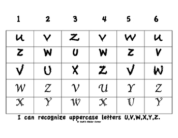 Recognizing Uppercase Letters U-Z