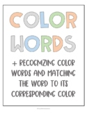 Recognizing and Matching Colors to Color Words