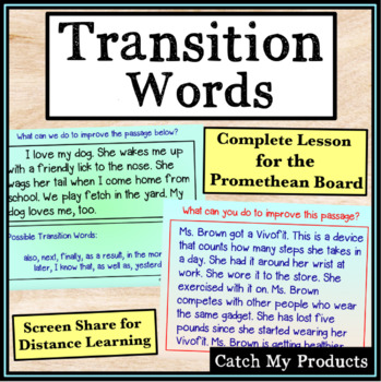 Writing Process : Recognizing & Using Transition Words for Promethean Board