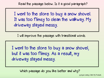 Transition Words in Narrative Writing