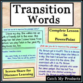 Writing Process : Recognizing and Using Transition Words i