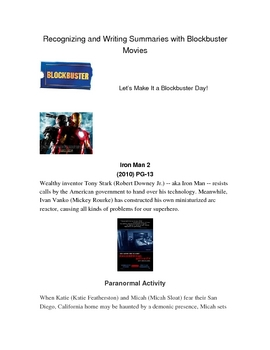 Recognizing and Writing Summaries with Blockbuster Movies