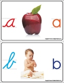 Montessori Recognizing first sound, cursive and print. A to Z