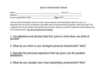 Recommendation Letter Info Sheet
