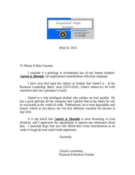 Recommendation Letter (Student) {EDITABLE)