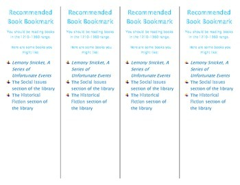 Recommended Book Bookmark based on Lexile Level 1210-1360