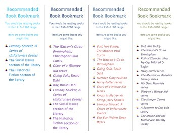 Recommended Book Bookmark based on Lexile Level