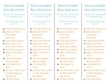 Recommended Book Bookmark based on Lexile Level 500-650