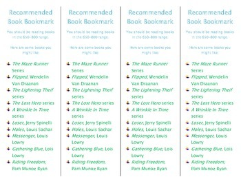 Recommended Book Bookmark based on Lexile Level 650-800