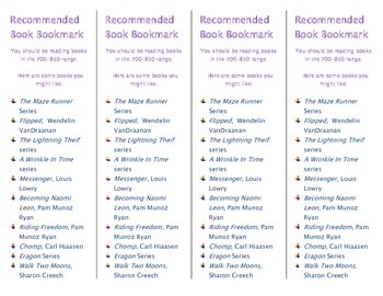 Recommended Book Bookmark based on Lexile Level 700-850