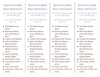 Recommended Book Bookmark based on Lexile Level 750-900