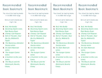 Recommended Book Bookmark based on Lexile Level 800-950
