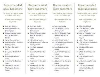Recommended Book Bookmark based on Lexile Level 850-1000