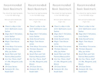 Recommended Book Bookmark for Lexile Level 450-600