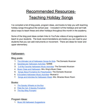 Recommended resources for elementary music teachers
