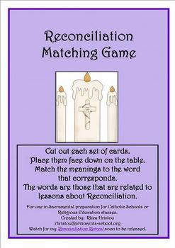 Reconciliation Matching Game - sacrament preparation