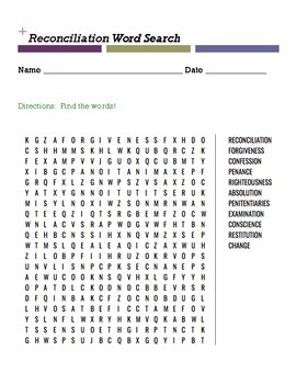 Reconciliation Word Search